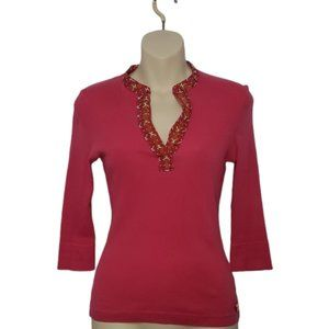 TORY BURCH pink ribbed v-neck top XS